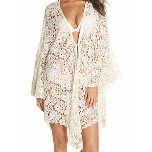 🌸Free People Move Over Lace Cotton Kimono Robe L